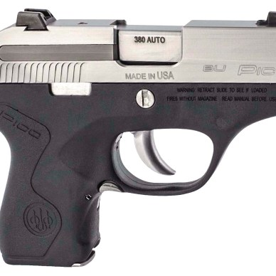 .380 ACP semiautomatic pistol with black grip and frame and stainless barrel and slide