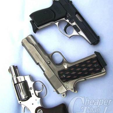 3 handguns starting at the top with the Bersa .380 ACP, then the Commander .45 and finally the Colt Detective Special on the bottom on a mottled blue/white background.