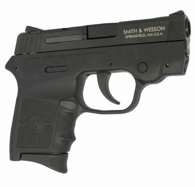 Smith & Wesson Bodyguard 380 in black, pointed to the right on white background