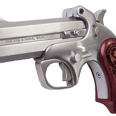 Picture shows a silver Derringer with rosewood grips.