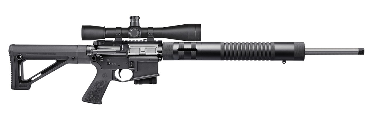Black AR-15, barrel to the right on a white background