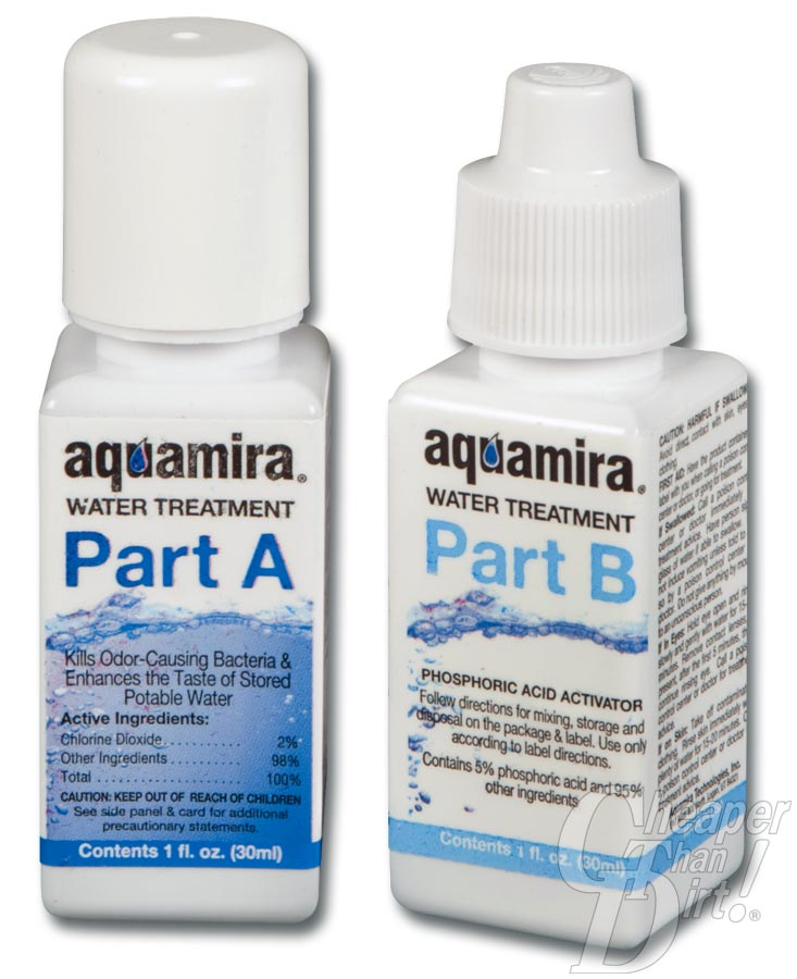 Picture shows two bottles, Part A and Part B of Aquamira's water treatment solution.