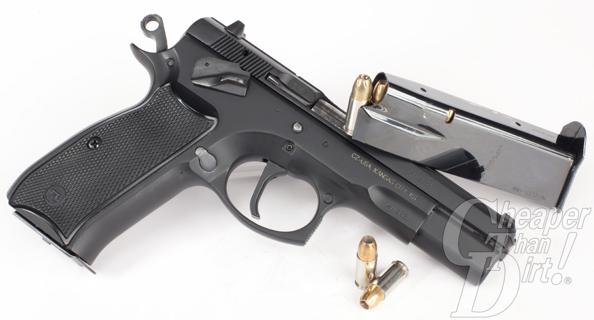 Picture shows a black, steel CZ 75 9mm pistol.