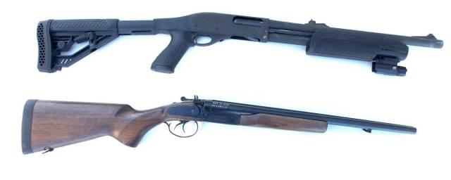 Pump action shotgun top, coach gun below