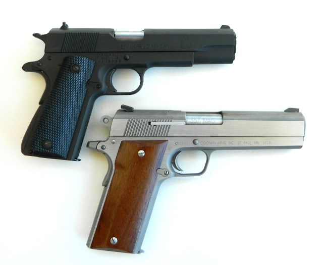 1911 government model top, Coonan 1911 model bottom