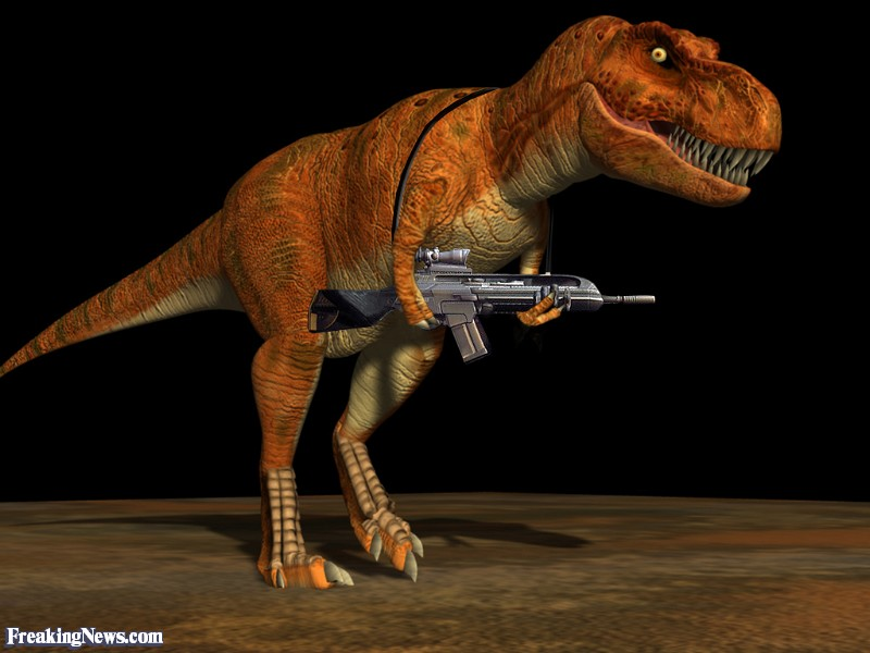 Freaking News T-Rex with assault rifle