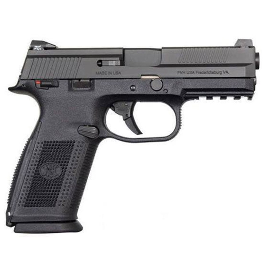 Black 9mm semiautomatic handgun made by FNH.