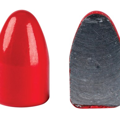 cutaway of a lead core bullet with a red polycoat sheath