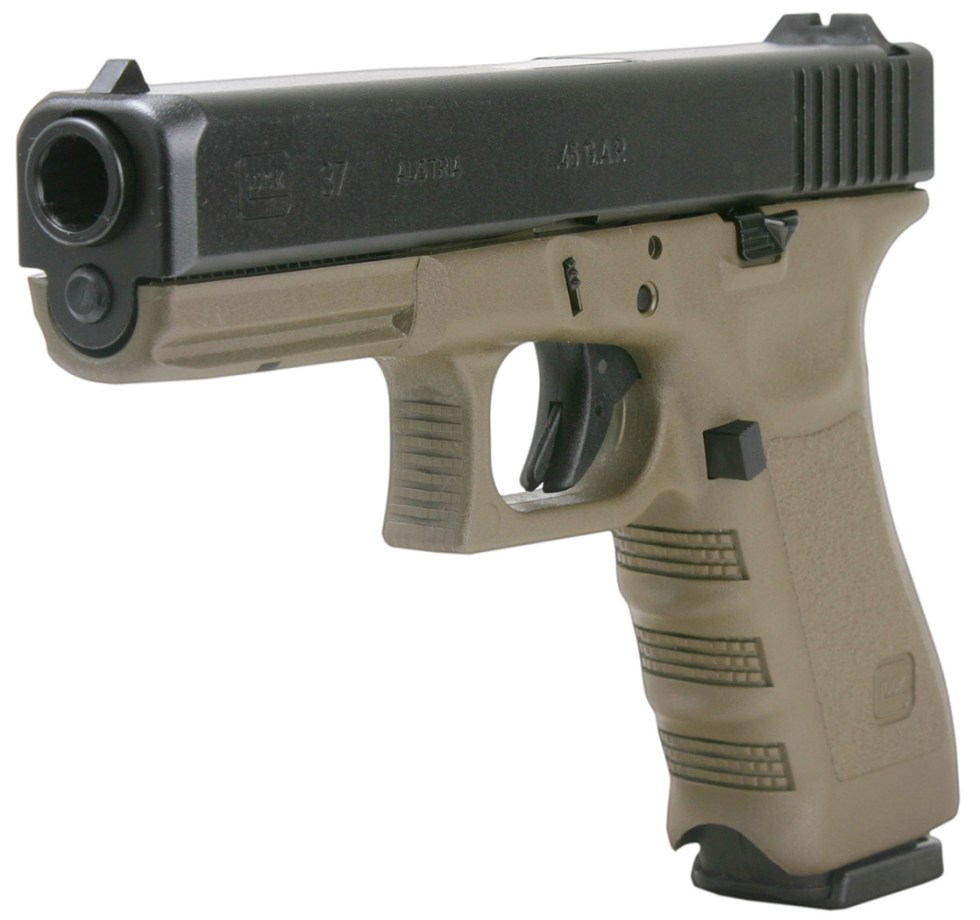 Taupe GLOCK 37 barrel pointed to the left on a white background
