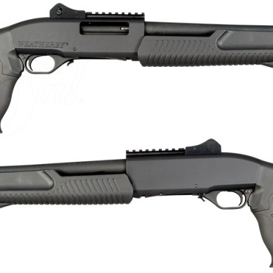Picture shows the right side and the left side of Weatherby's black, pump-action tactical shotgun.