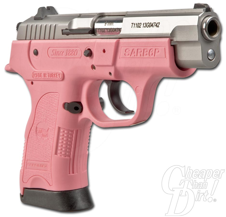 Picture shows a pink SAR B6 Pavona 9mm handgun.