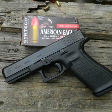 Glock G17 Gen 5 pistol with American Eagle ammunition box