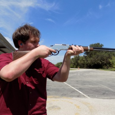 The author taking aim with the Henry Golden Boy Silver.
