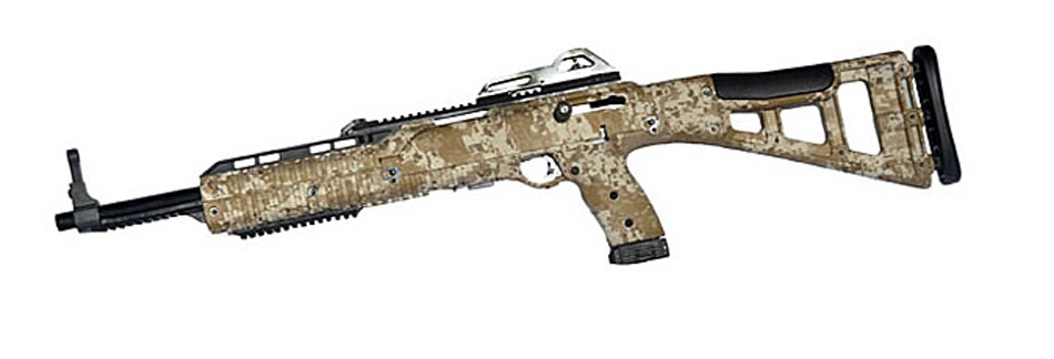 Hi Point Carbine chambered in .380 with tan digital camouflage