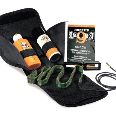 Hoppe's Bore Snake Gun Cleaning Kit in black bag with orange bottles on a white background