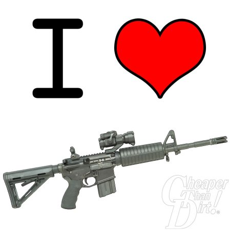Image shows I and a heart and underneath a picture of an AR-15 rifle.