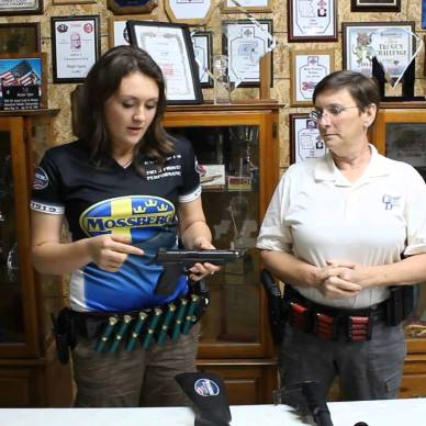 Picture shows Lena and Kay Miculek discussing firearms.