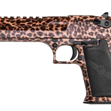 Semiautomatic Desert Eagle pistol in Cheetah print finish