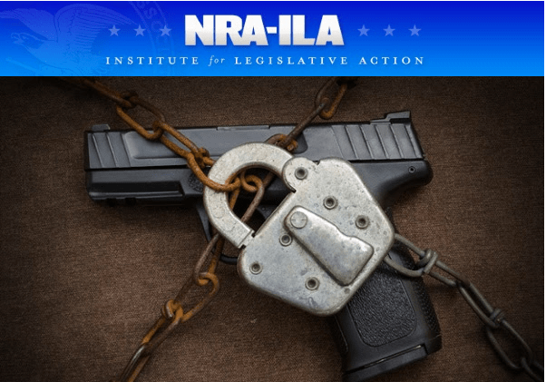 NRA-ILA with padlock and chain around a handgun
