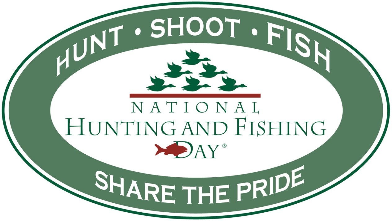 Picture is of a green and white logo for National Hunting and Fishing Day