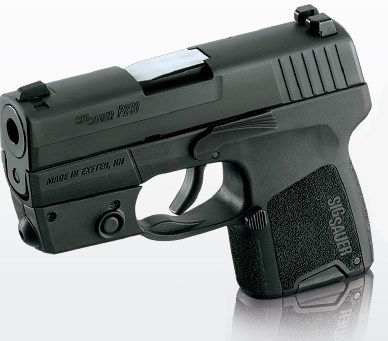 Black SIG SAUER P290, barrel pointed to the left on a white-to-gray background.