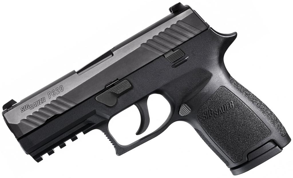 black SIG Sauer P320 9mm pistol left