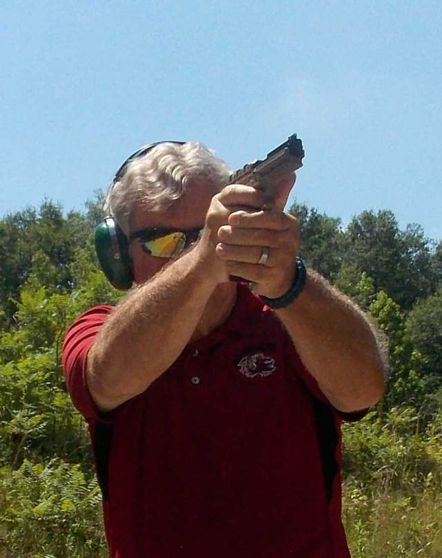 Bob Campbell sighting the PMR-30 pistol