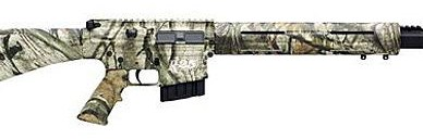 Camo covered Remington R-25 on a white background