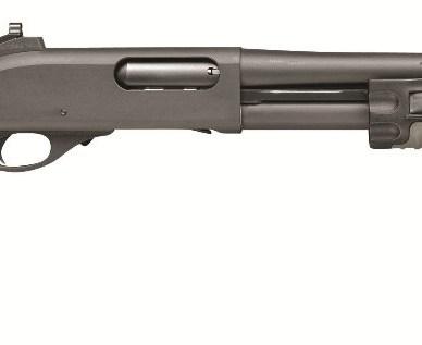 Dark gray Remington 870 on a white background