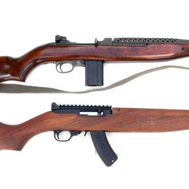 US M1 .30 Carbine rifle over a Ruger 10/22 M1 rifle