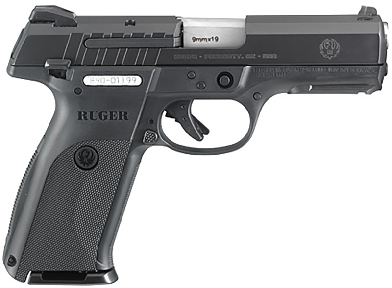 Picture shows a black Ruger 9E, full-sized 9mm pistol.