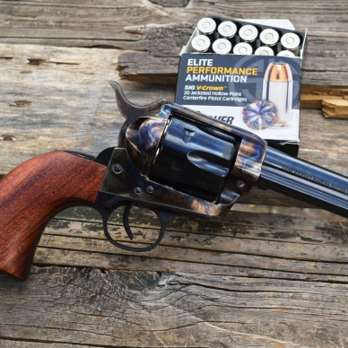 Traditions revolver with a box or SIG Sauer V-Crown ammunition