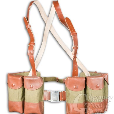 Picture shows an antique Chinese SKS rifle chest rig made of leather and canvas consisting of eight pouches that hold stripper clips.