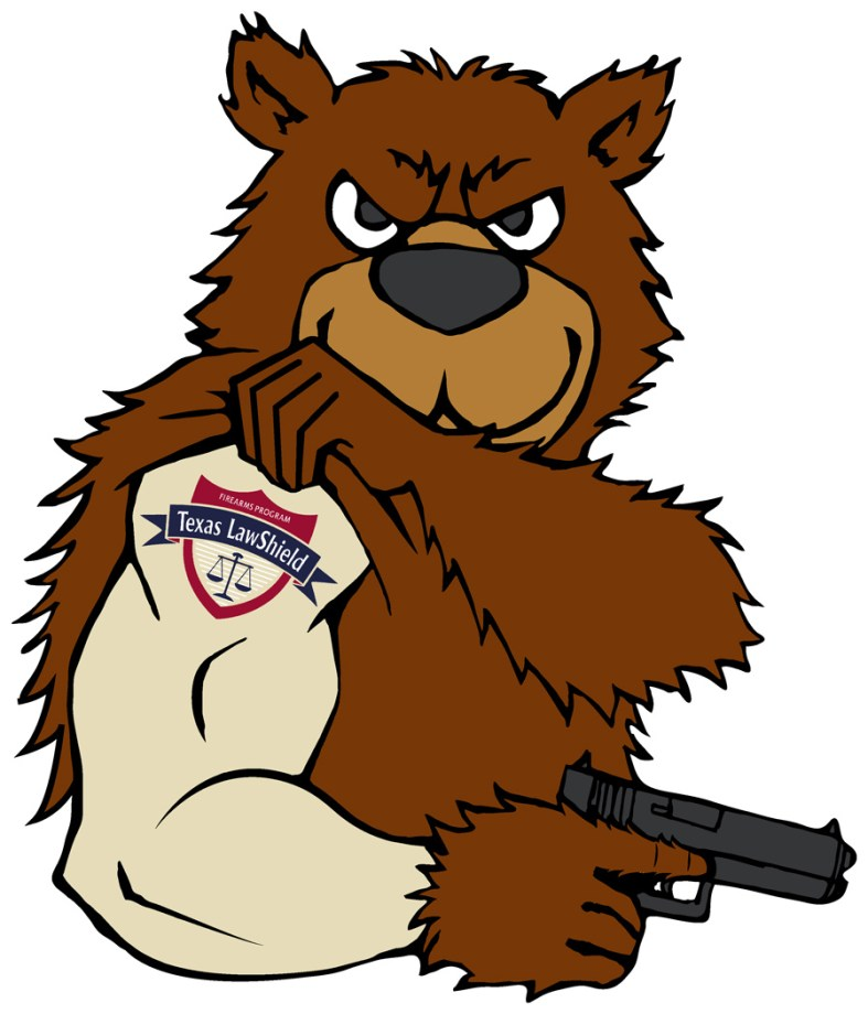 Texas Law Shield mascot of a bear showing its arm