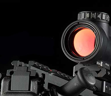 Close-up of the Trijicon MRO red dot sight on a MIL-STD 1913 rail