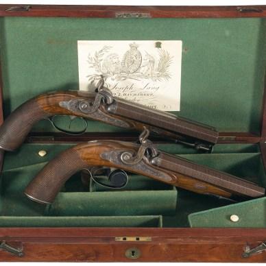 Cased Joseph Lang Double-Barrel Percussion Pistols ca 1840. Image Courtesy of Rock Island Auction Co.