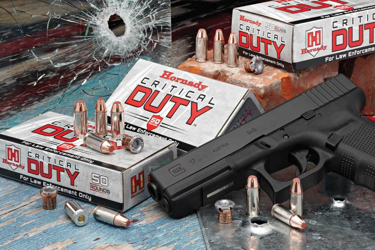 Hornady Critical Duty Ammunition boxes with a Glock 17 pistol