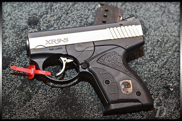 This palm-sized pistol holds seven rounds of 9mm +P