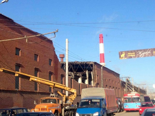 Building damaged from falling meteors in Russia.