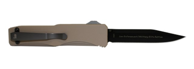 Picture shows a spring-assisted opening knife with black blade and flat dark earth handle.