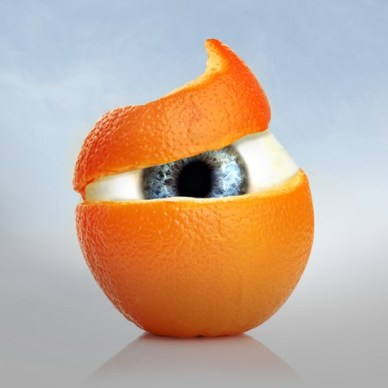 Orange peel revealing an eyeball