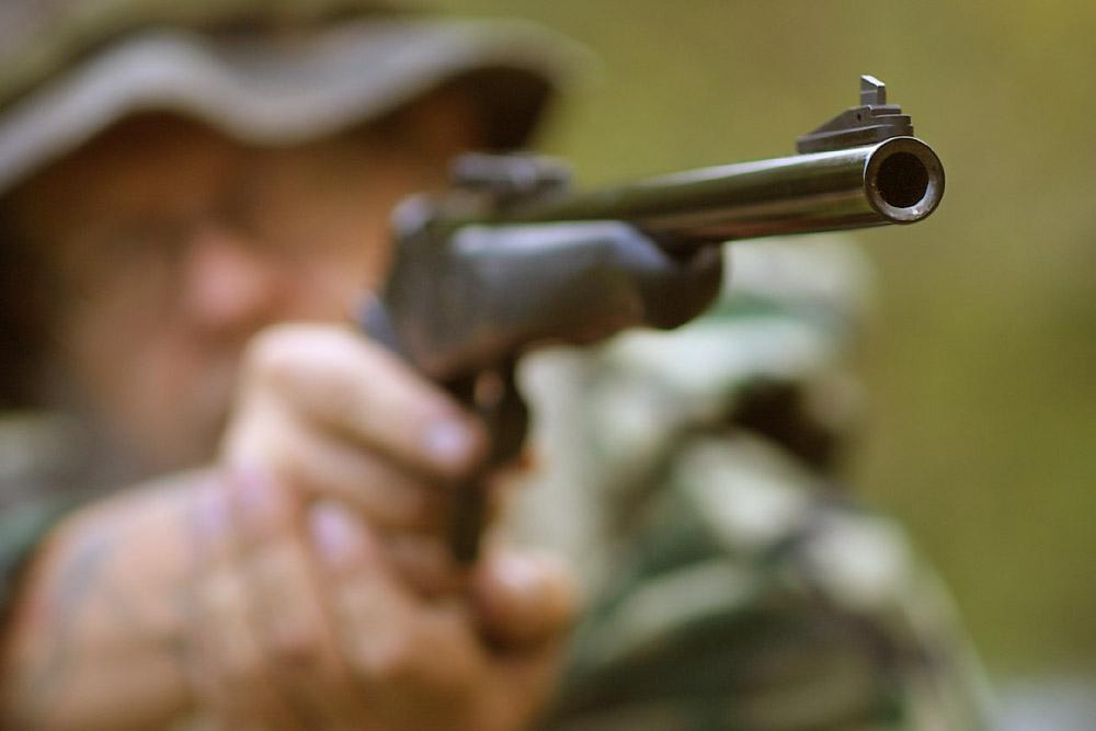 Thompson Contender pistol in use