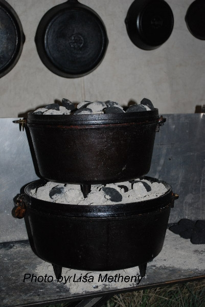Stack Dutch Ovens for one Complete Meal