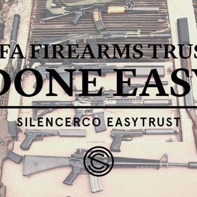 SilencerCo banner ad for its new EasyTrust NFA service