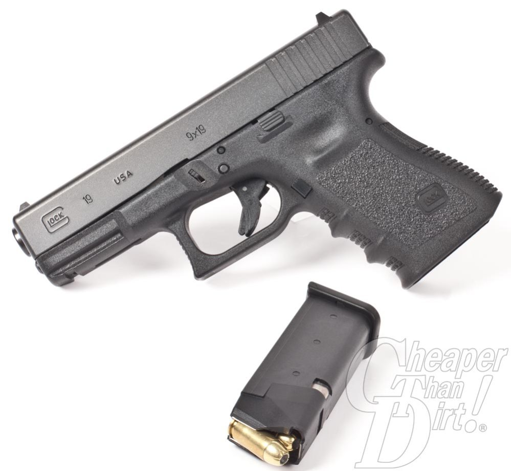 Picture shows a GLOCK 19 handgun made in the U.S.A.