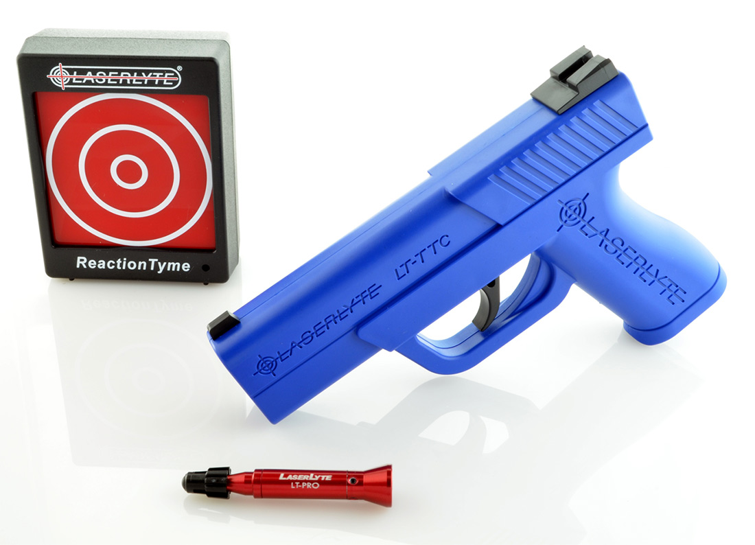 Picture shows a blue training pistol with laser and laser reactive target.