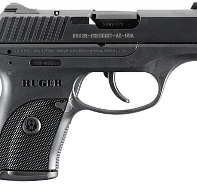Black Ruger LC9, right side view, barrel pointed to the right, on a white background