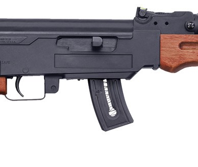 Mossberg rimfire .22 LR rifle that looks like an AK-47 with wood furniture