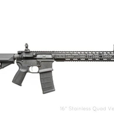 Black Noveske-built Gen III AR-15 rifle with many upgrades