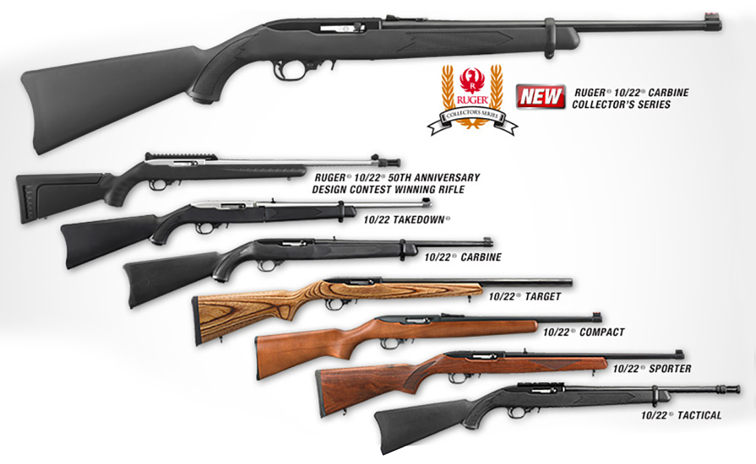 8 different models of Ruger 10/22 rifles in current production.